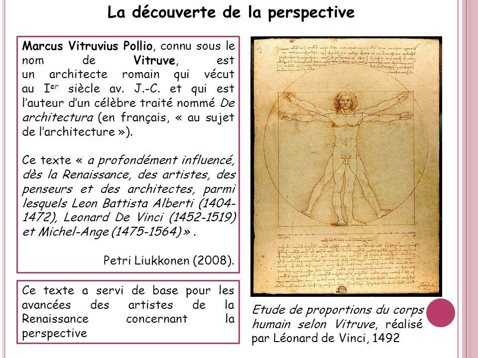 Marcus Vitruvius Pollio, connu sous le nom de Vitruve, est un architecte romain qui vécut au I er siècle av. J.-C. et qui est lauteur dun célèbre trai
