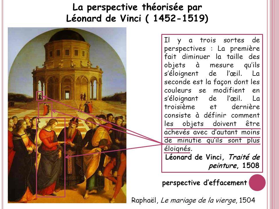 La perspective théorisée par Léonard de Vinci ( 1452-1519) Il y a trois sortes de perspectives : La première fait diminuer la taille des objets à mesu