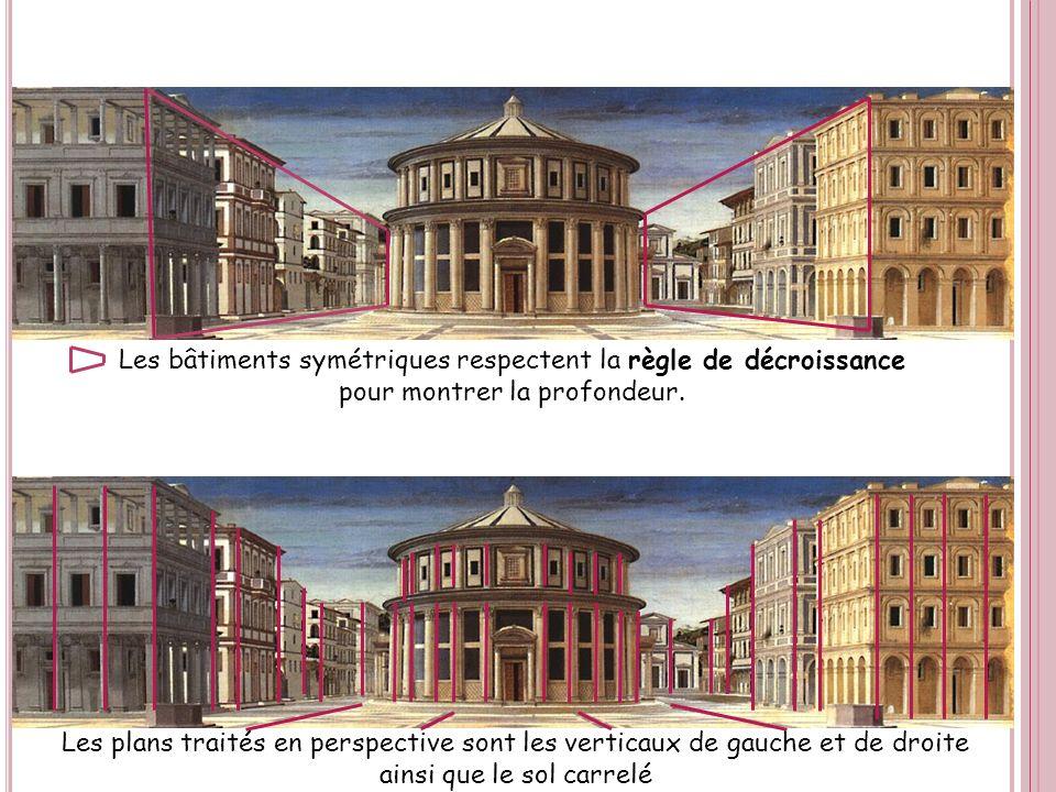 Les bâtiments symétriques respectent la règle de décroissance pour montrer la profondeur. Les plans traités en perspective sont les verticaux de gauch
