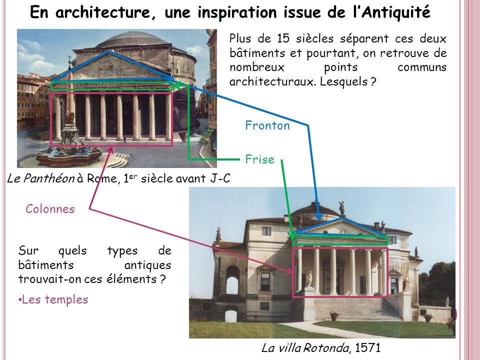 En architecture, une inspiration issue de lAntiquité La villa Rotonda, 1571 Le Panthéon à Rome, 1 er siècle avant J-C Plus de 15 siècles séparent ces