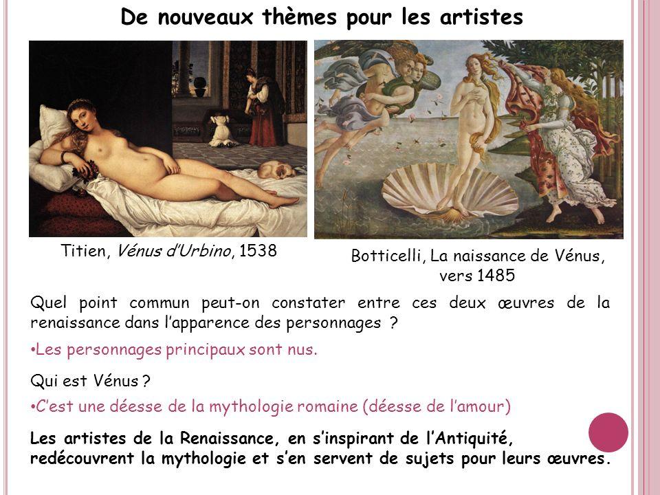 Titien, Vénus dUrbino, 1538 Quel point commun peut-on constater entre ces deux œuvres de la renaissance dans lapparence des personnages ? Les personna