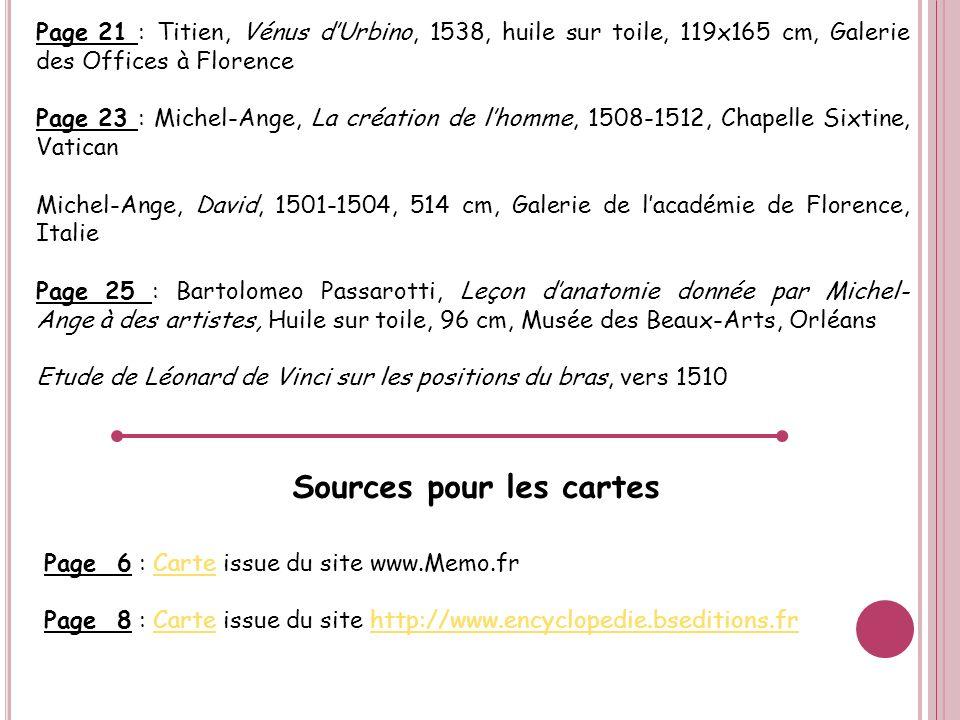 Page 21 : Titien, Vénus dUrbino, 1538, huile sur toile, 119x165 cm, Galerie des Offices à Florence Page 23 : Michel-Ange, La création de lhomme, 1508-