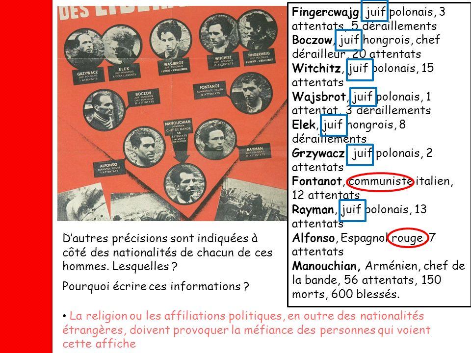Fingercwajg, juif polonais, 3 attentats, 5 déraillements Boczow, juif hongrois, chef dérailleur, 20 attentats Witchitz, juif polonais, 15 attentats Wa