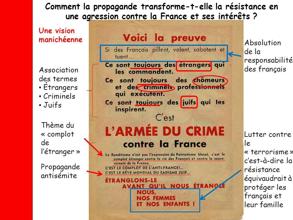 Comment la propagande transforme-t-elle la résistance en une agression contre la France et ses intérêts ? Association des termes Étrangers Criminels J
