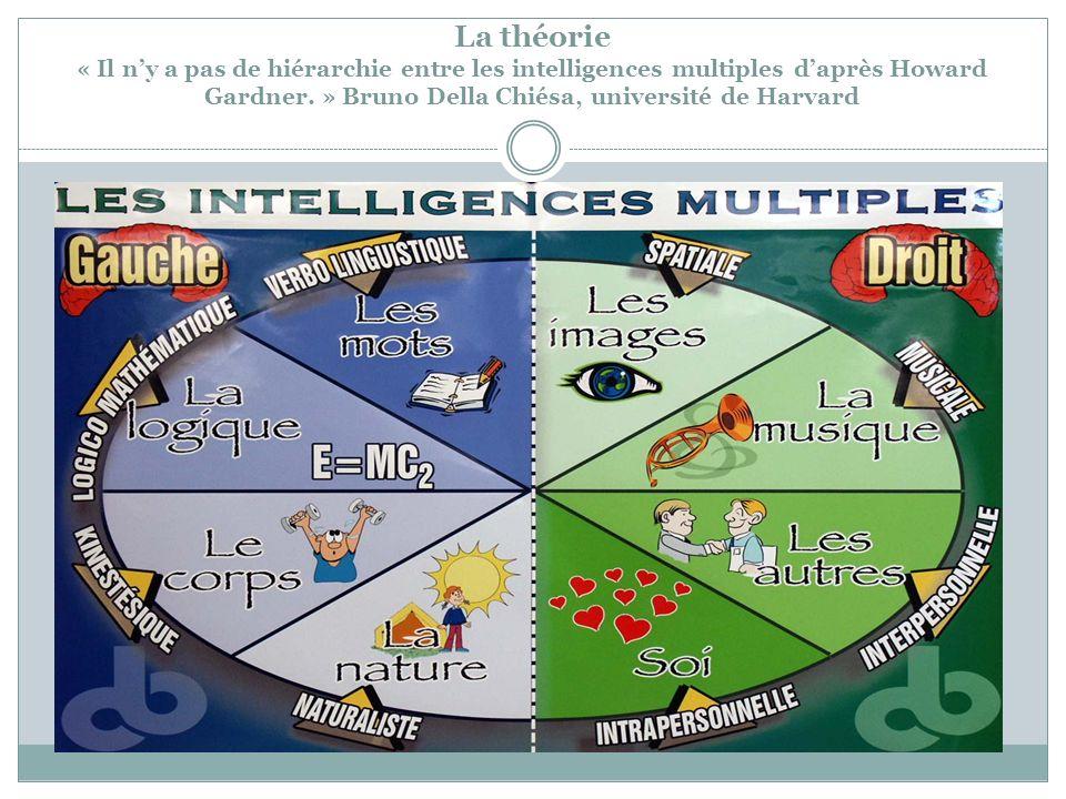 La théorie « Il ny a pas de hiérarchie entre les intelligences multiples daprès Howard Gardner. » Bruno Della Chiésa, université de Harvard