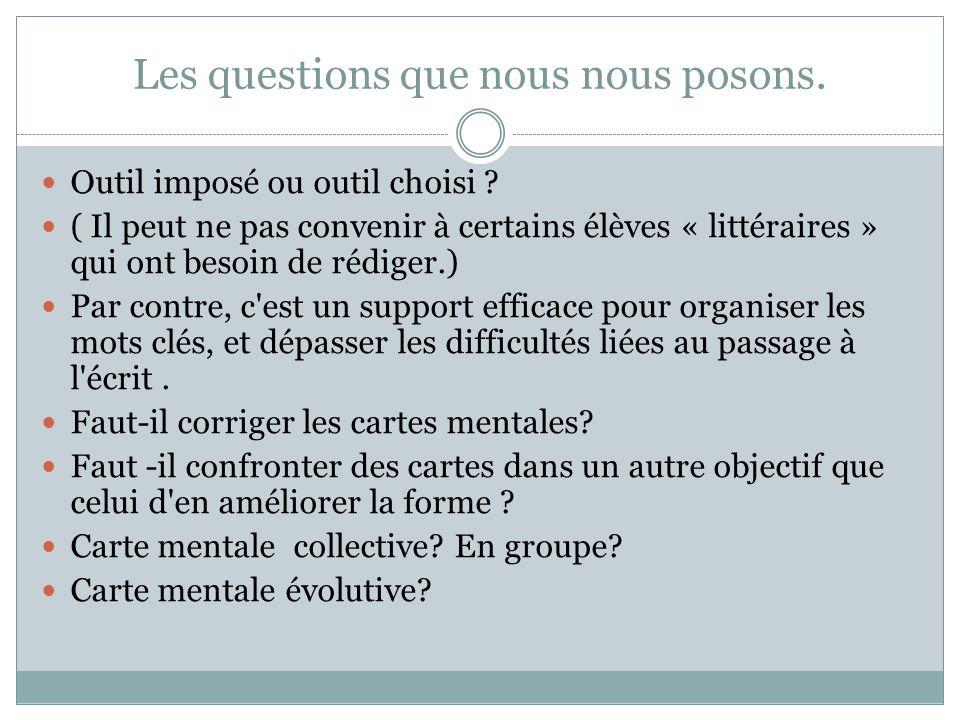 Les questions que nous nous posons. Outil imposé ou outil choisi ? ( Il peut ne pas convenir à certains élèves « littéraires » qui ont besoin de rédig