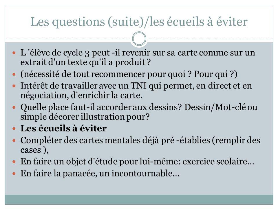 Les questions (suite)/les écueils à éviter L 'élève de cycle 3 peut -il revenir sur sa carte comme sur un extrait d'un texte qu'il a produit ? (nécess