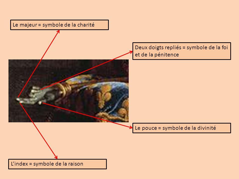 Le majeur = symbole de la charité Lindex = symbole de la raison Deux doigts repliés = symbole de la foi et de la pénitence Le pouce = symbole de la di