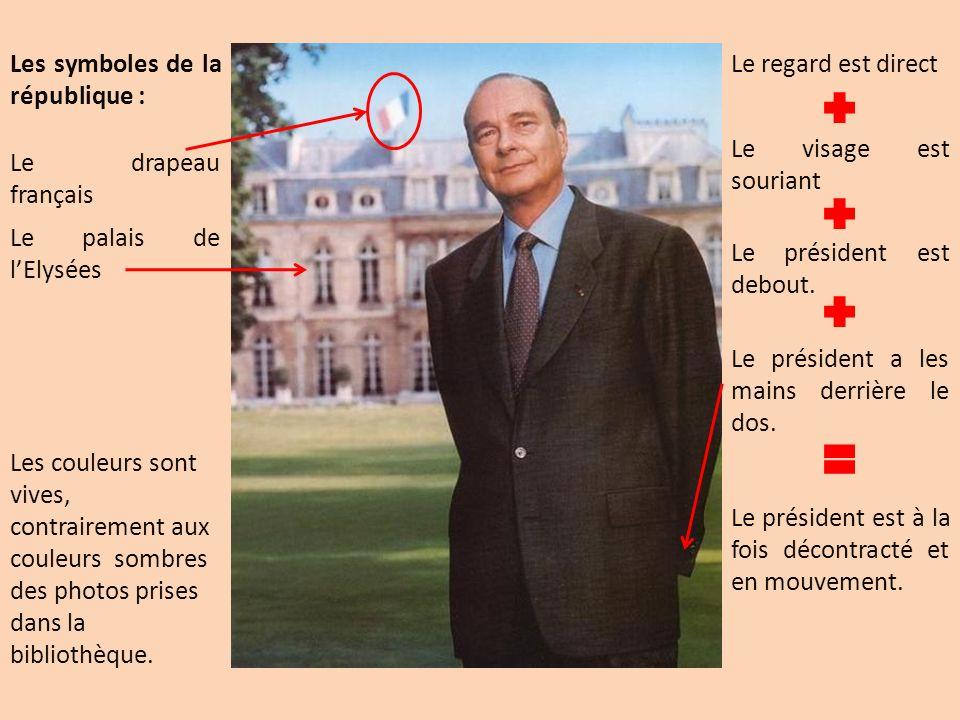 Les symboles de la république : Le drapeau français Le palais de lElysées Le président est debout. Le visage est souriant Le président a les mains der