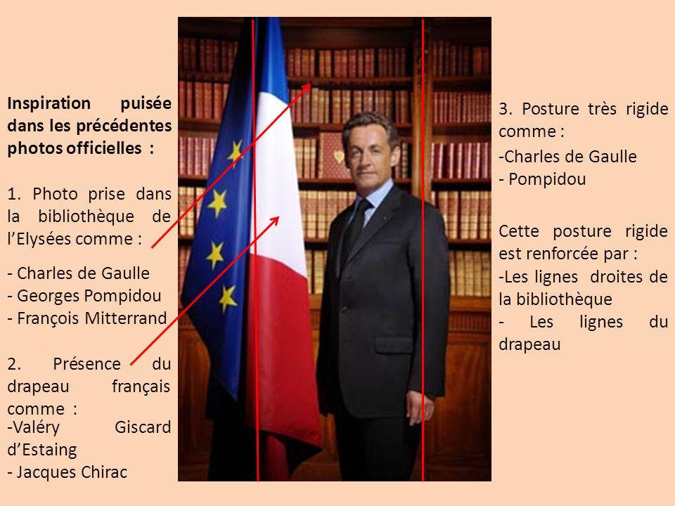 Inspiration puisée dans les précédentes photos officielles : 1. Photo prise dans la bibliothèque de lElysées comme : - Charles de Gaulle - Georges Pom