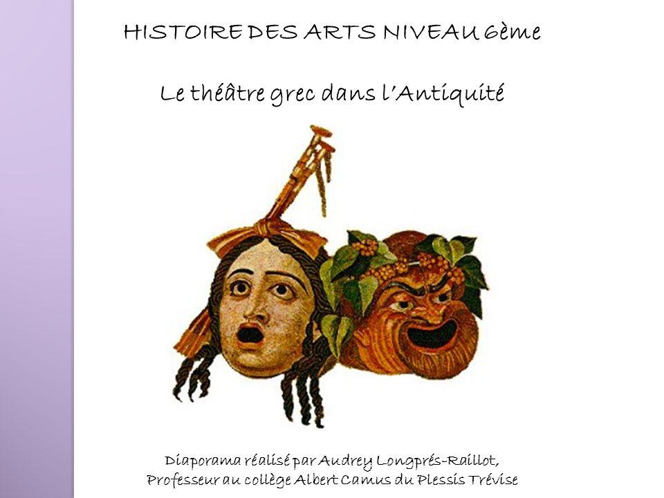 HISTOIRE DES ARTS NIVEAU 6ème Le théâtre grec dans lAntiquité Diaporama réalisé par Audrey Longprés-Raillot, Professeur au collège Albert Camus du Ple