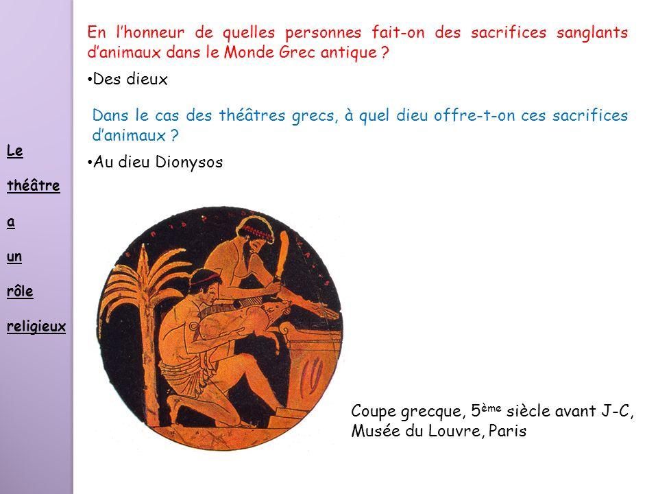 En lhonneur de quelles personnes fait-on des sacrifices sanglants danimaux dans le Monde Grec antique ? Des dieux Dans le cas des théâtres grecs, à qu