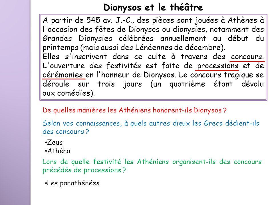 A partir de 545 av. J.-C., des pièces sont jouées à Athènes à l'occasion des fêtes de Dionysos ou dionysies, notamment des Grandes Dionysies célébrées
