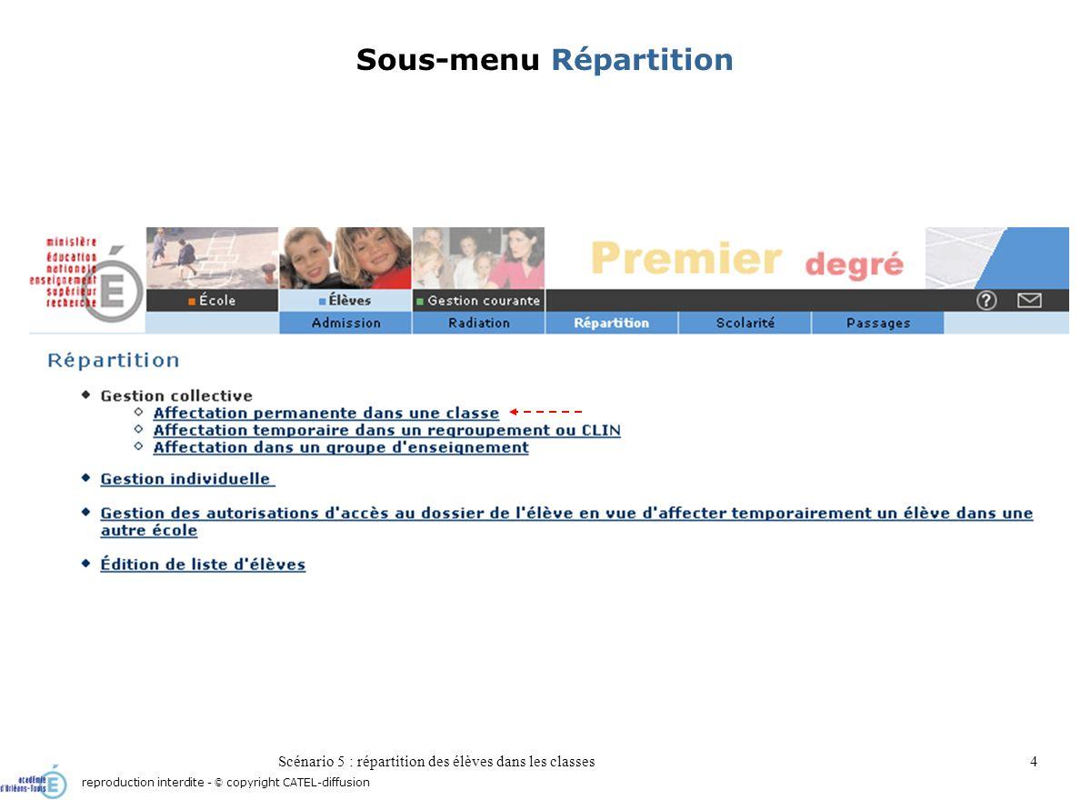Scénario 5 : répartition des élèves dans les classes4 Sous-menu Répartition reproduction interdite - © copyright CATEL-diffusion