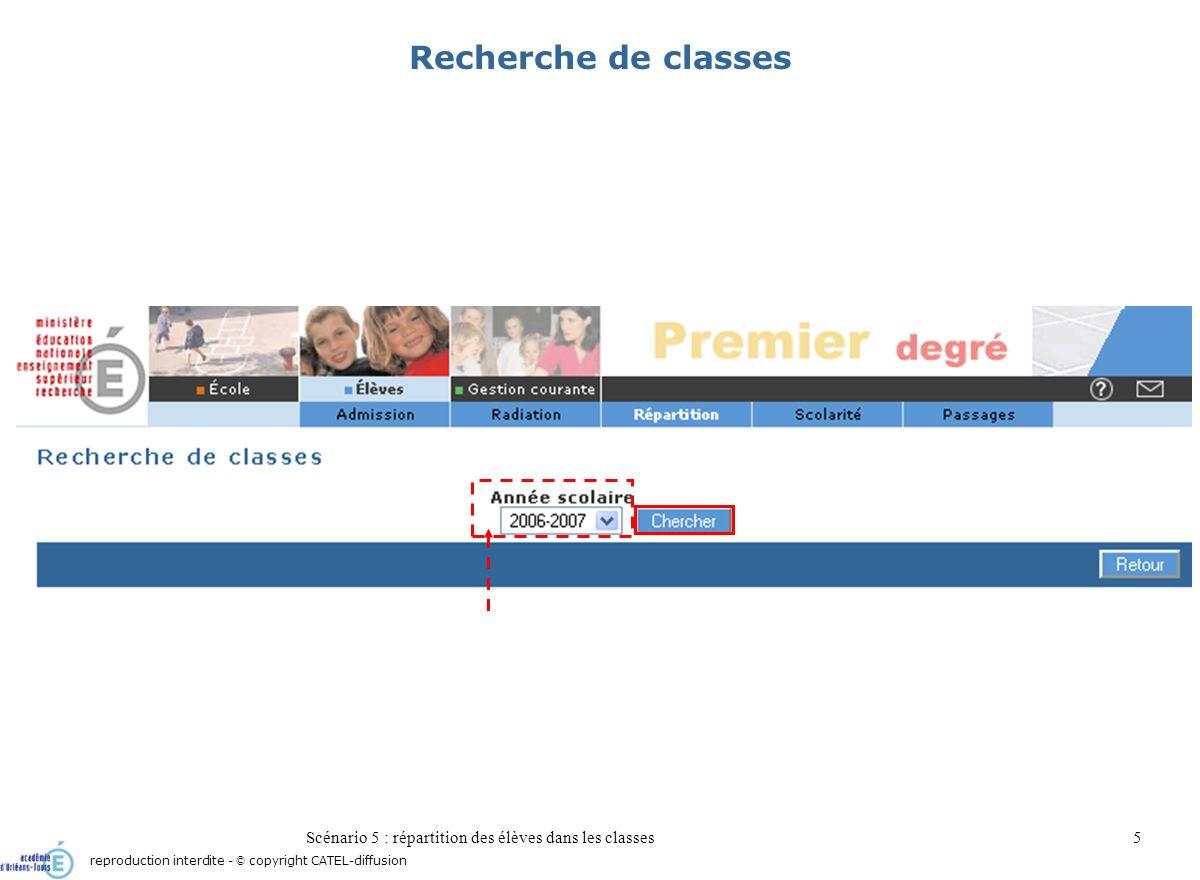 Scénario 5 : répartition des élèves dans les classes5 Recherche de classes reproduction interdite - © copyright CATEL-diffusion