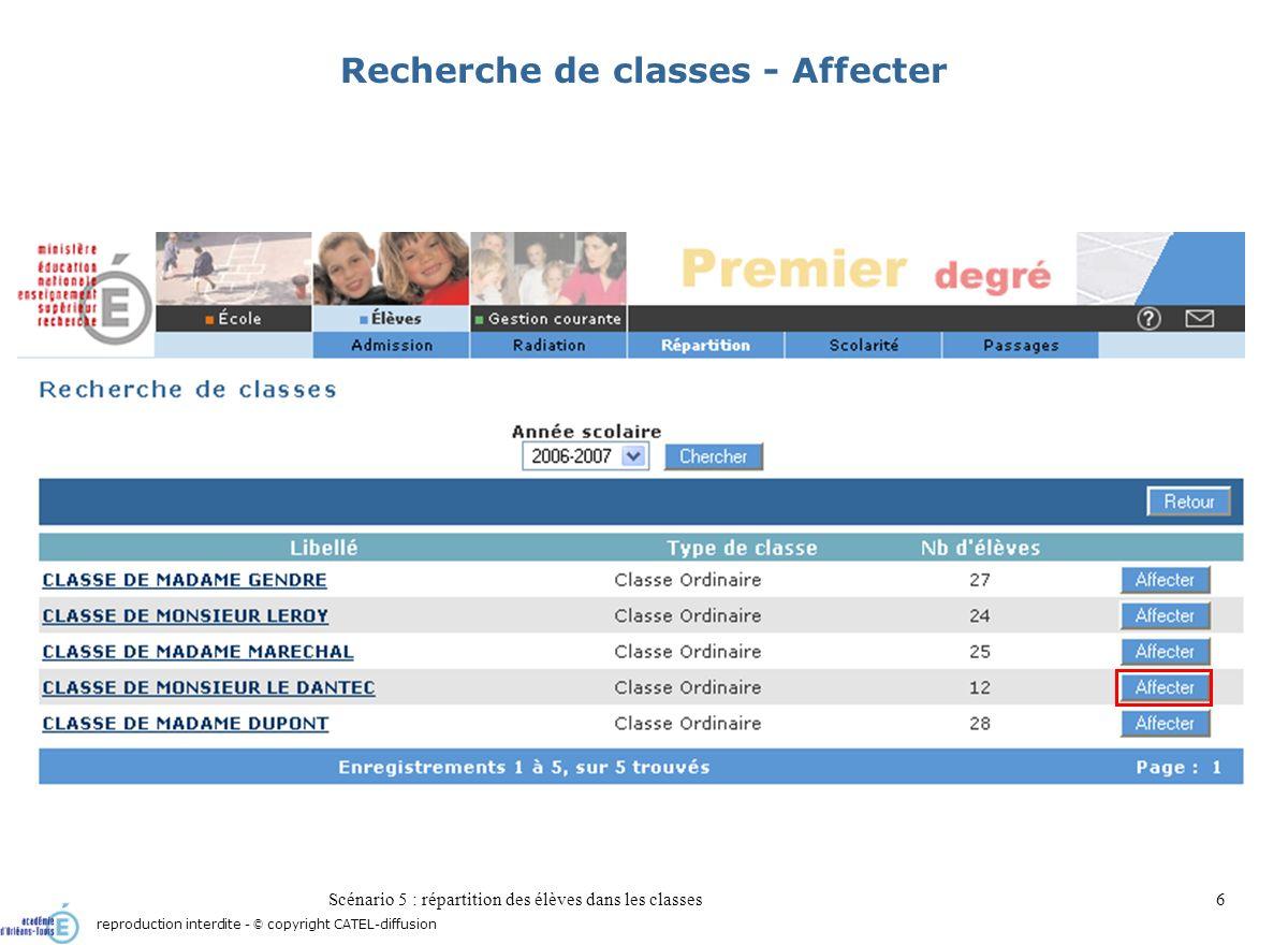 Scénario 5 : répartition des élèves dans les classes7 Répartition permanente dans une classe reproduction interdite - © copyright CATEL-diffusion