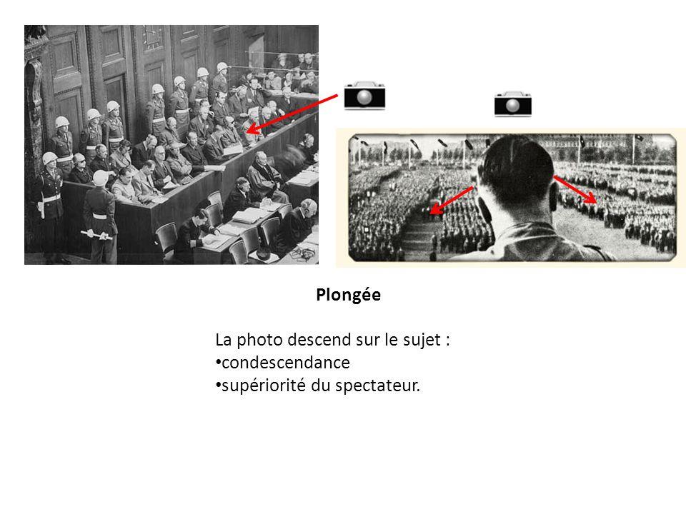 Plongée La photo descend sur le sujet : condescendance supériorité du spectateur.