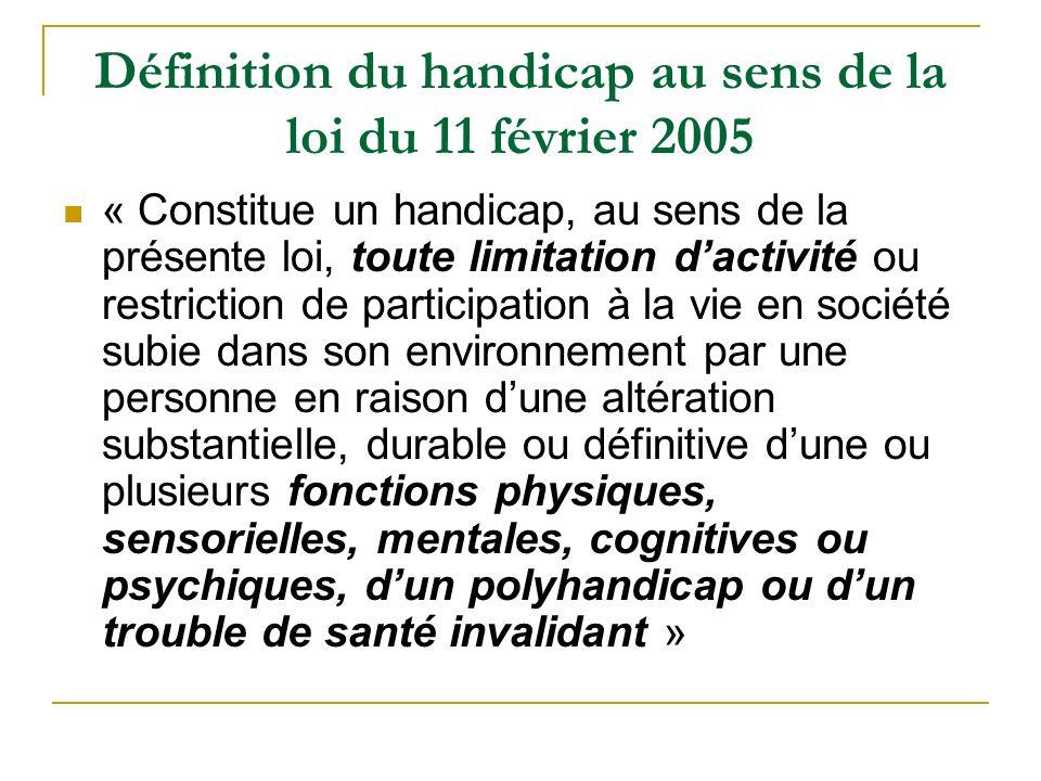 La MDPH La MDPH: Maison Départementale des Personnes Handicapées Création depuis la loi de février 2005 Guichet unique adultes enfants handicapés Dépend du conseil général