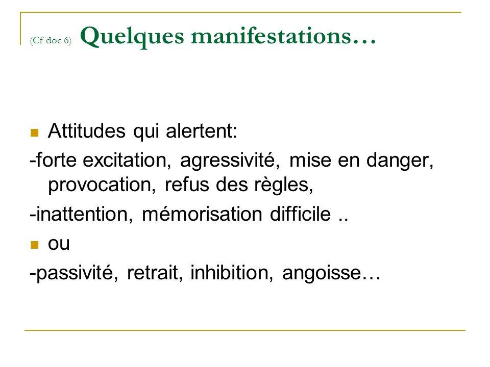 (Cf doc 6) Quelques manifestations… Attitudes qui alertent: -forte excitation, agressivité, mise en danger, provocation, refus des règles, -inattention, mémorisation difficile..