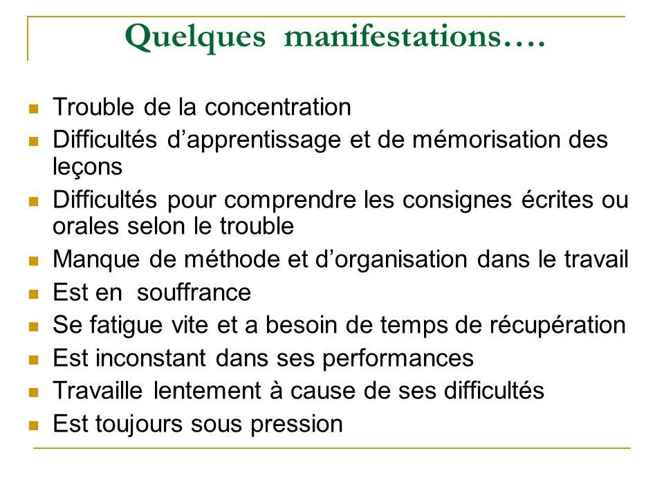 Quelques manifestations….