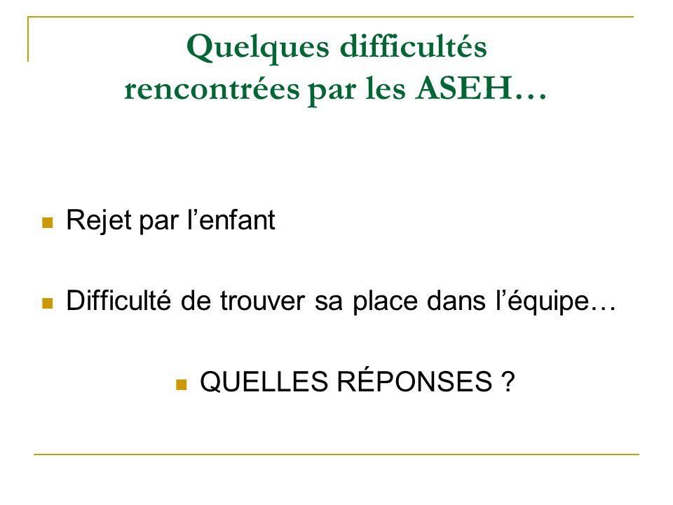 Quelques difficultés rencontrées par les ASEH… Rejet par lenfant Difficulté de trouver sa place dans léquipe… QUELLES RÉPONSES ?