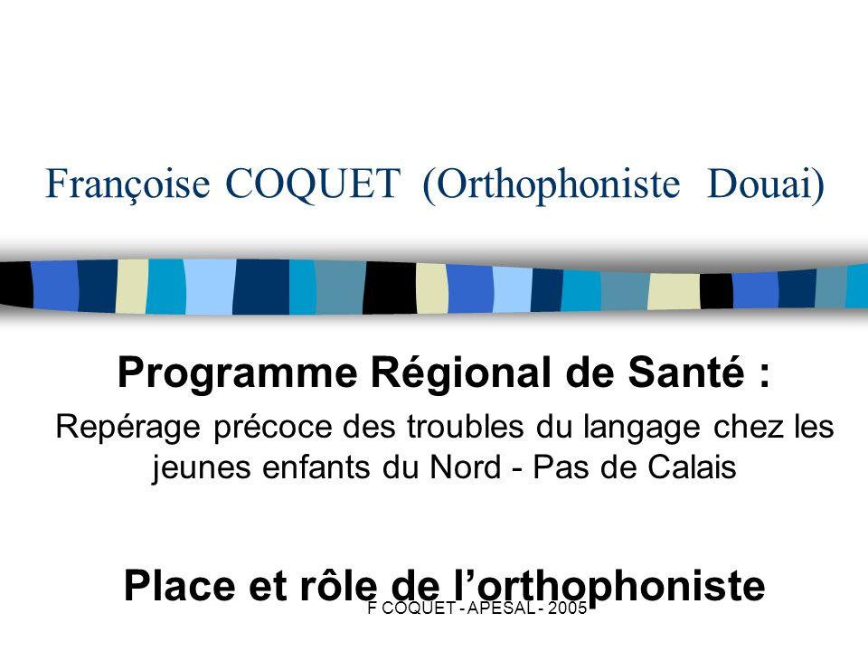 F COQUET - APESAL - 2005 Françoise COQUET (Orthophoniste Douai) Programme Régional de Santé : Repérage précoce des troubles du langage chez les jeunes