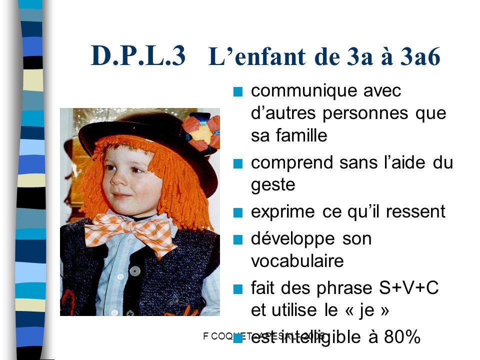 F COQUET - APESAL - 2005 D.P.L.3 Lenfant de 3a à 3a6 n communique avec dautres personnes que sa famille n comprend sans laide du geste n exprime ce qu