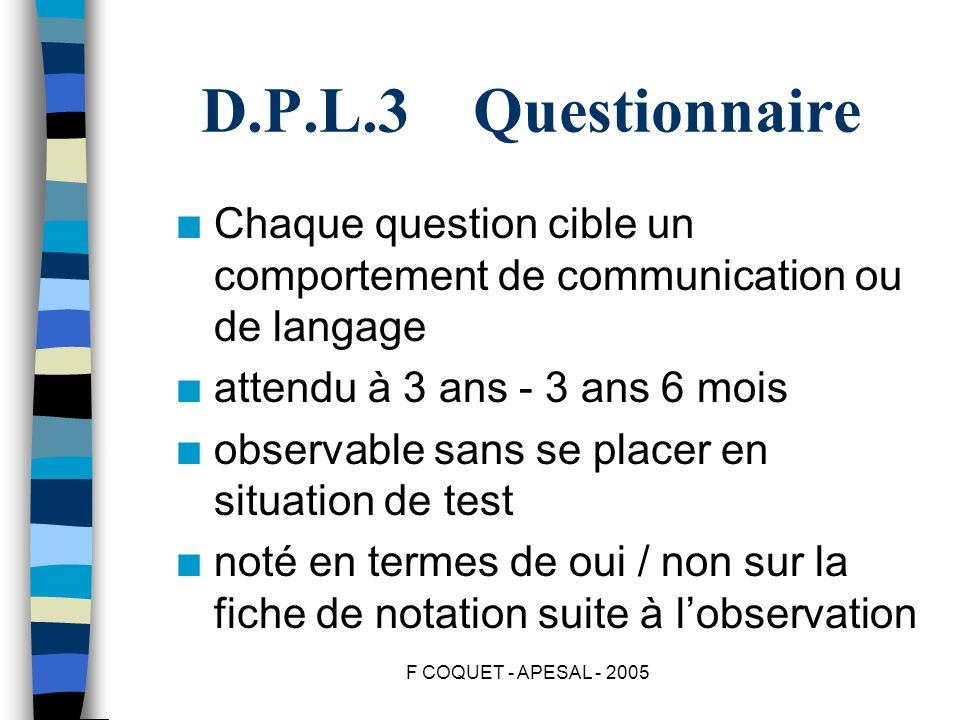 F COQUET - APESAL - 2005 D.P.L.3 Questionnaire n Chaque question cible un comportement de communication ou de langage n attendu à 3 ans - 3 ans 6 mois