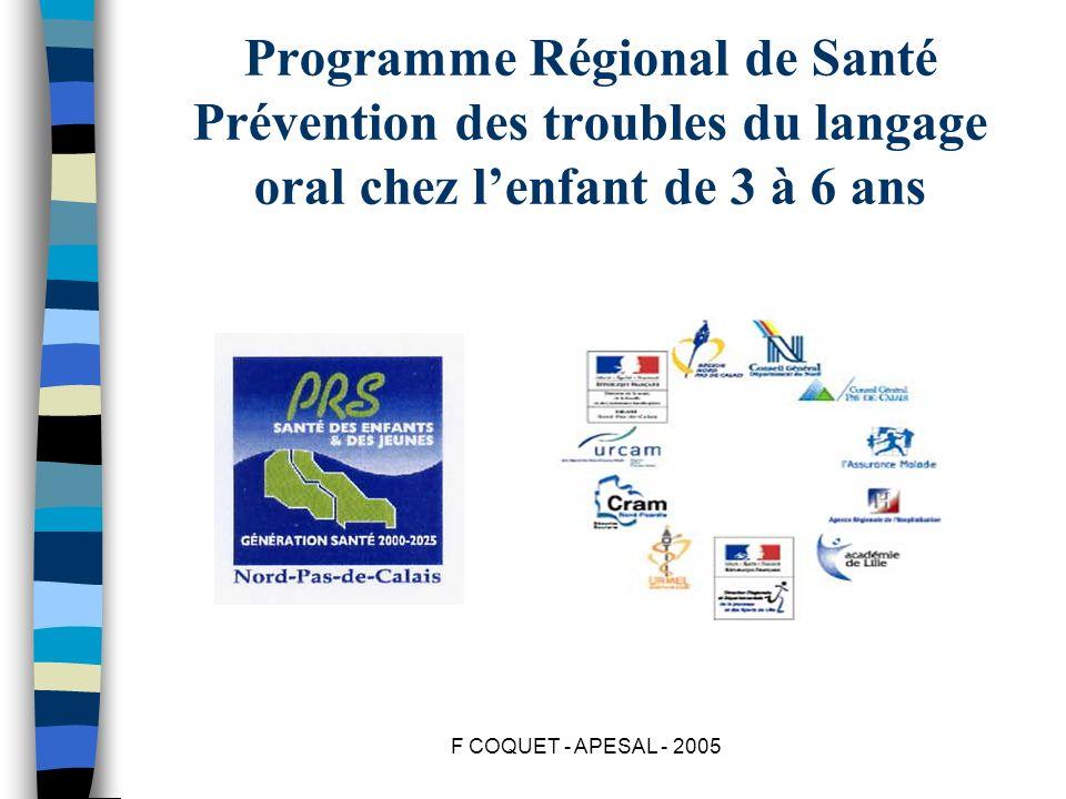 F COQUET - APESAL - 2005 Programme Régional de Santé Prévention des troubles du langage oral chez lenfant de 3 à 6 ans