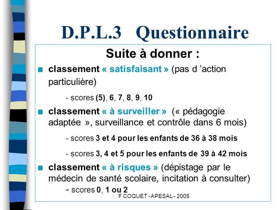 F COQUET - APESAL - 2005 D.P.L.3 Questionnaire Suite à donner : n classement « satisfaisant » (pas d action particulière) - scores (5), 6, 7, 8, 9, 10