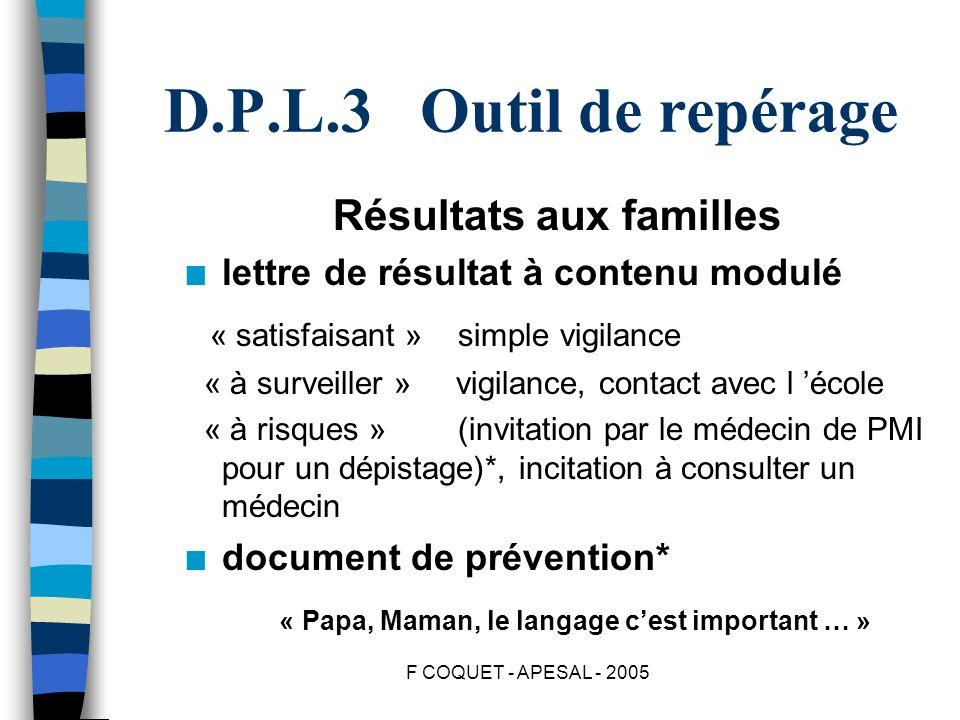 F COQUET - APESAL - 2005 D.P.L.3 Outil de repérage Résultats aux familles n lettre de résultat à contenu modulé « satisfaisant » simple vigilance « à