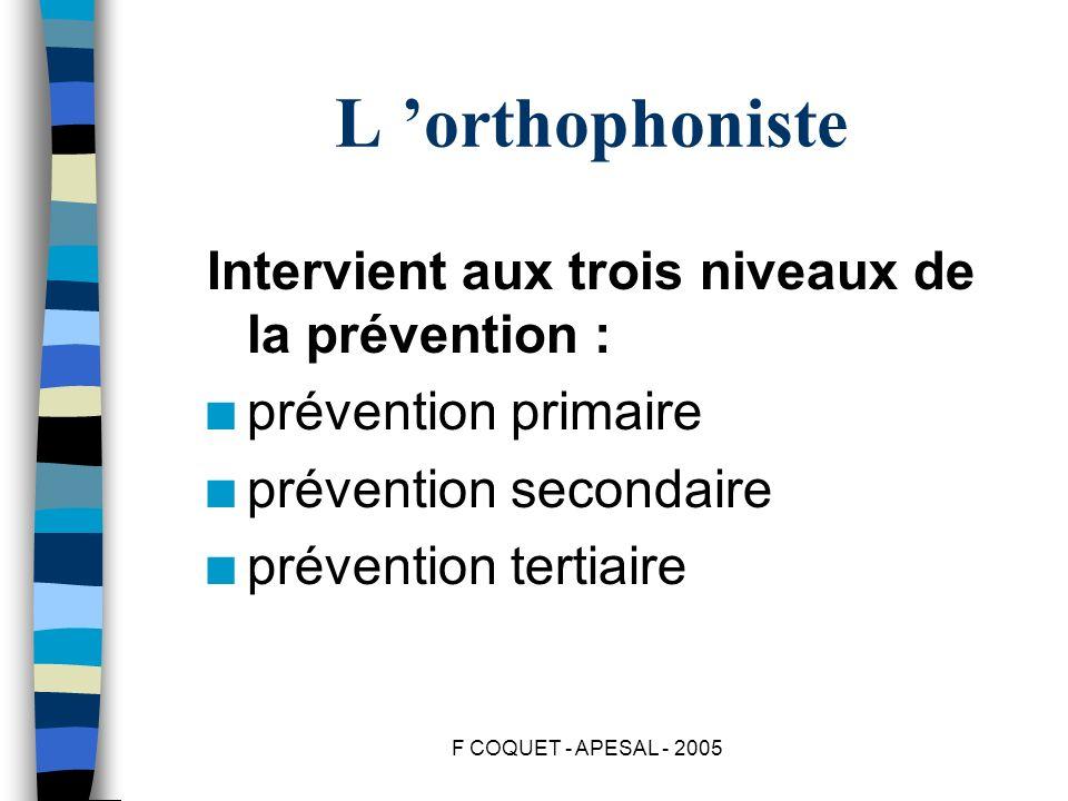 F COQUET - APESAL - 2005 L orthophoniste Intervient aux trois niveaux de la prévention : n prévention primaire n prévention secondaire n prévention te