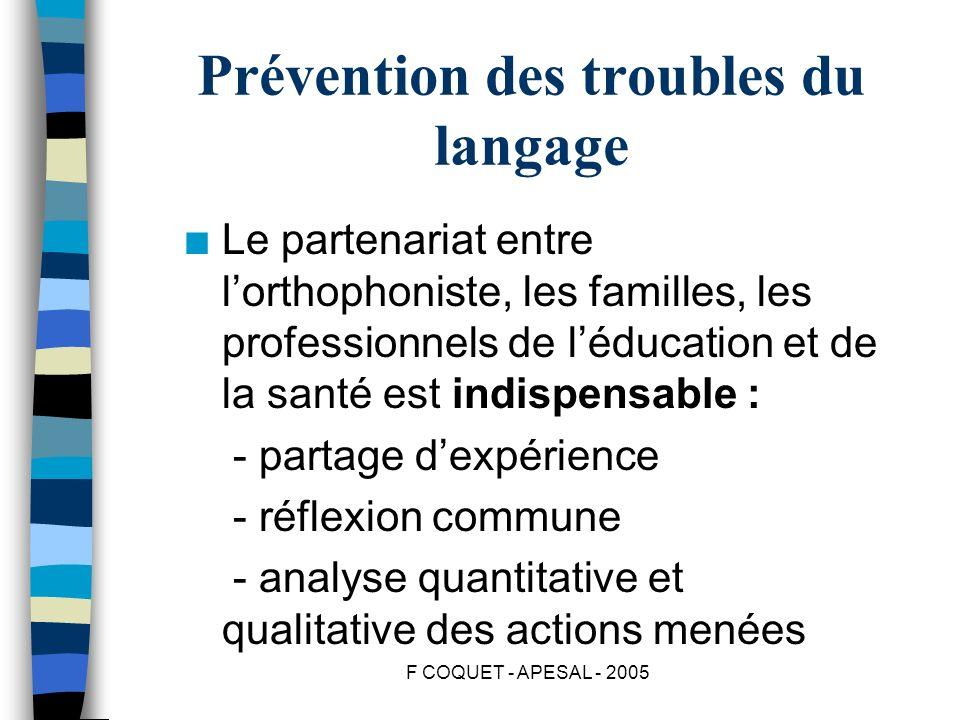 F COQUET - APESAL - 2005 Prévention des troubles du langage n Le partenariat entre lorthophoniste, les familles, les professionnels de léducation et d