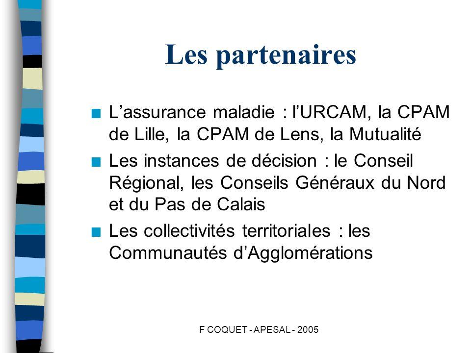 F COQUET - APESAL - 2005 Les partenaires n Lassurance maladie : lURCAM, la CPAM de Lille, la CPAM de Lens, la Mutualité n Les instances de décision :