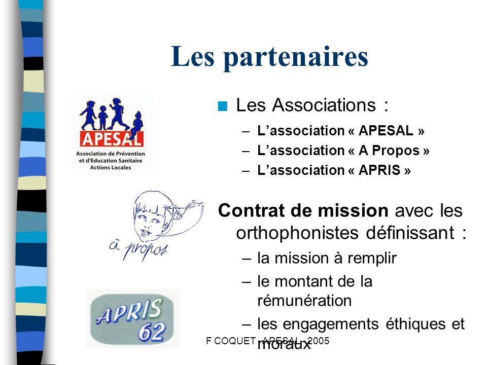 F COQUET - APESAL - 2005 Les partenaires n Les Associations : –Lassociation « APESAL » –Lassociation « A Propos » –Lassociation « APRIS » Contrat de m