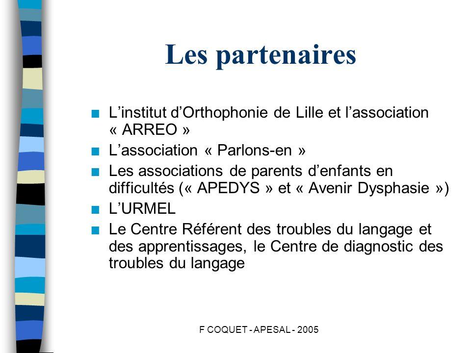 F COQUET - APESAL - 2005 Les partenaires n Linstitut dOrthophonie de Lille et lassociation « ARREO » n Lassociation « Parlons-en » n Les associations