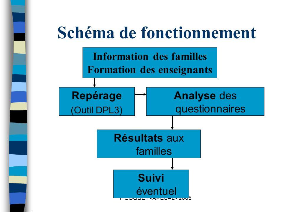 F COQUET - APESAL - 2005 Schéma de fonctionnement Information des familles Formation des enseignants Repérage (Outil DPL3) Analyse des questionnaires
