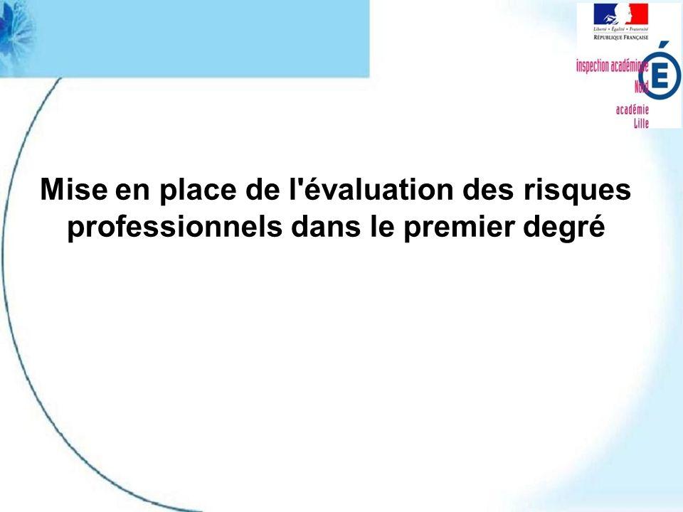 Mise en place de l évaluation des risques professionnels dans le premier degré