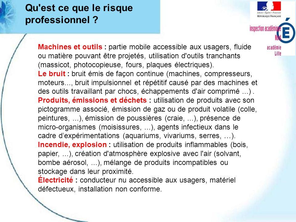 Qu'est ce que le risque professionnel ? Machines et outils : partie mobile accessible aux usagers, fluide ou matière pouvant être projetés, utilisatio