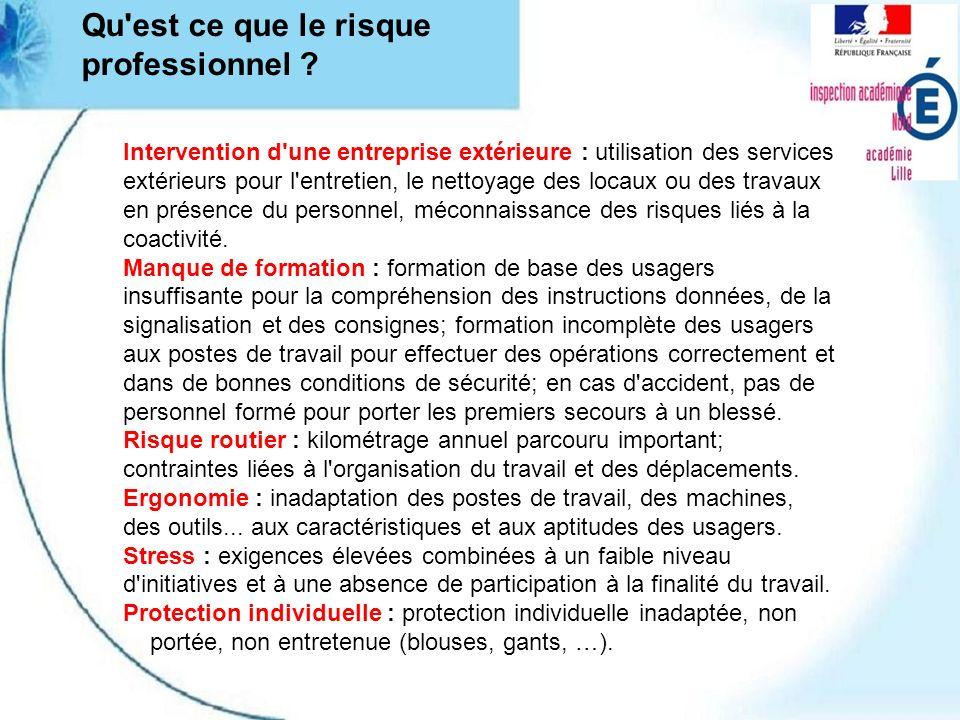 Qu'est ce que le risque professionnel ? Intervention d'une entreprise extérieure : utilisation des services extérieurs pour l'entretien, le nettoyage