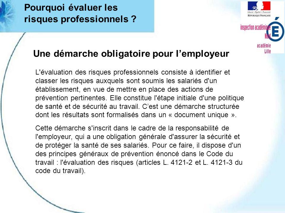 Une démarche obligatoire pour lemployeur Cette démarche s'inscrit dans le cadre de la responsabilité de l'employeur, qui a une obligation générale d'a