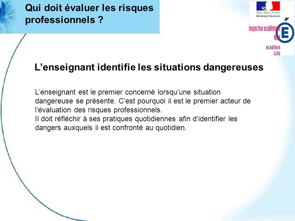 Lenseignant identifie les situations dangereuses Lenseignant est le premier concerné lorsquune situation dangereuse se présente.