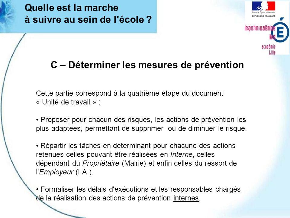 C – Déterminer les mesures de prévention Cette partie correspond à la quatrième étape du document « Unité de travail » : Proposer pour chacun des risq