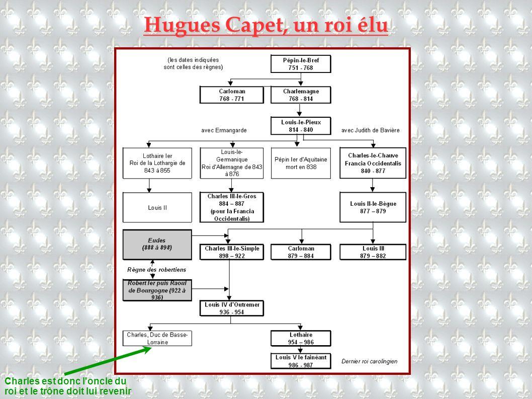 Hugues Capet, un roi élu Charles est donc l'oncle du roi et le trône doit lui revenir