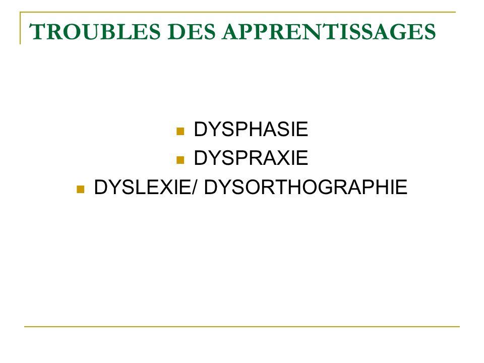 TROUBLES DES APPRENTISSAGES DYSPHASIE DYSPRAXIE DYSLEXIE/ DYSORTHOGRAPHIE