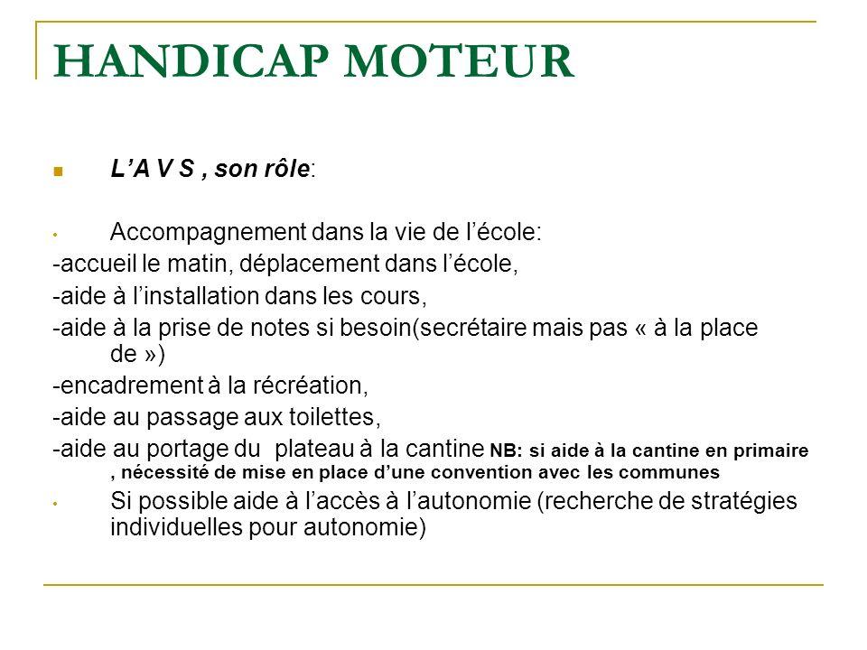 HANDICAP MOTEUR LA V S, son rôle: Accompagnement dans la vie de lécole: -accueil le matin, déplacement dans lécole, -aide à linstallation dans les cou
