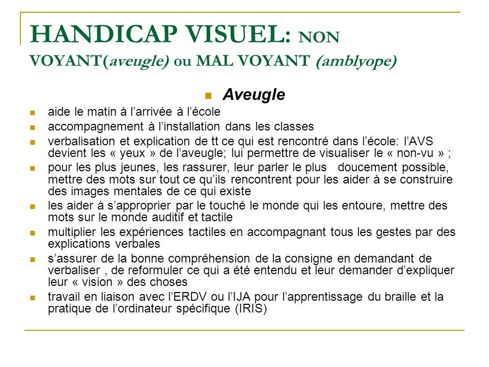 HANDICAP VISUEL : NON VOYANT(aveugle) ou MAL VOYANT (amblyope) Aveugle aide le matin à larrivée à lécole accompagnement à linstallation dans les class
