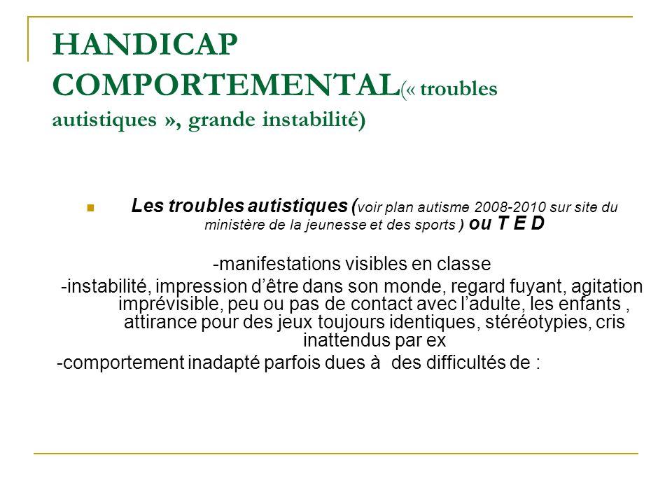 HANDICAP COMPORTEMENTAL (« troubles autistiques », grande instabilité) Les troubles autistiques ( voir plan autisme 2008-2010 sur site du ministère de