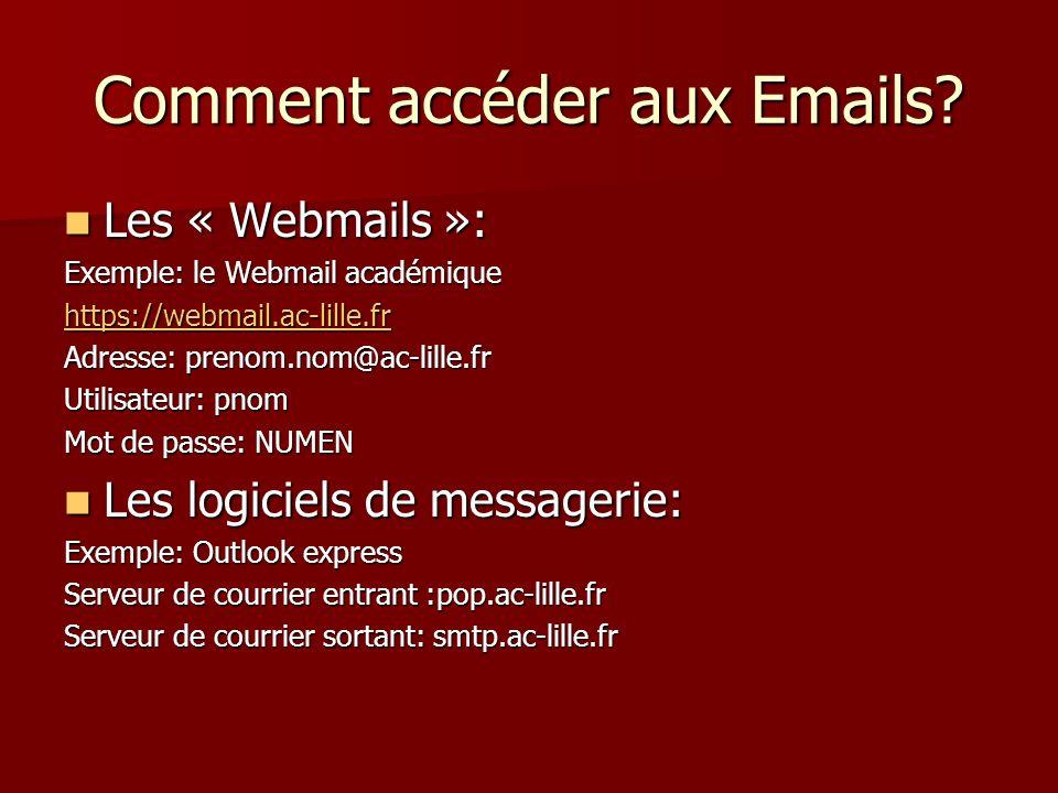 Comment accéder aux Emails? Les « Webmails »: Les « Webmails »: Exemple: le Webmail académique https://webmail.ac-lille.fr Adresse: prenom.nom@ac-lill