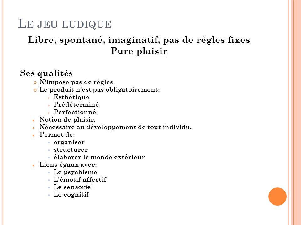 L E JEU LUDIQUE Libre, spontané, imaginatif, pas de règles fixes Pure plaisir Ses qualités N impose pas de règles.